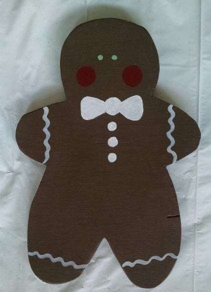 Gingerbread Boy and Gingerbread Girl Wood Figure